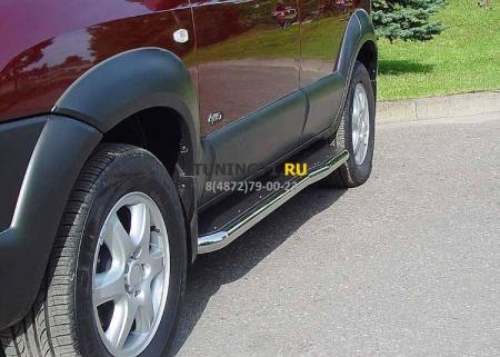 Hyundai Tucson 2004-2010г.в.-Пороги с листом фигурные d-43